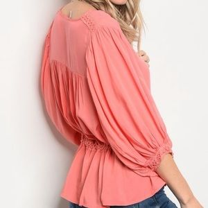2/$30 Tie Front Embroidered Button Down Top